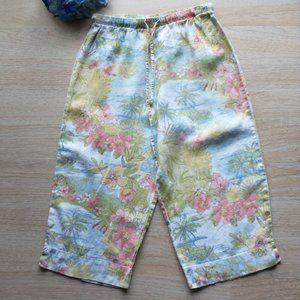 Hot Cotton Linen Floral Capri Crop Pants Pullon